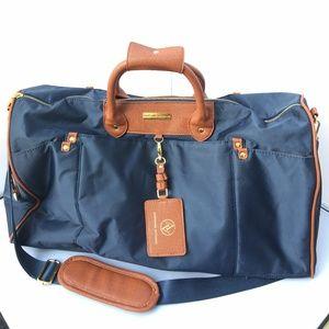 "Adrienne Vittadini Navy Blue Duffel Travel Bag 22"""